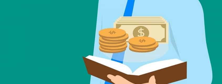 Ilustración que muestra a un hombre trajeado con un libro abierto y figuras que representan al dinero