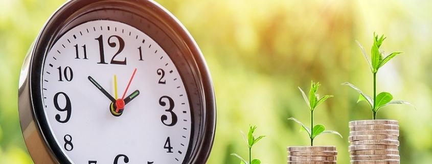 Reloj junto a unas monedas apiladas bajo unas plantas