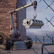 Ilustración que muestra un robot cargando una pieza con un gancho
