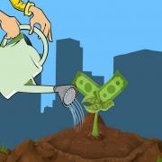 Dibujo de una regadera regando una planta con billetes en lugar de hojas