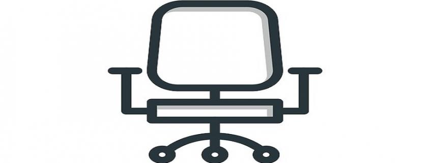 Figura de una silla de oficina sobre un fondo blanco
