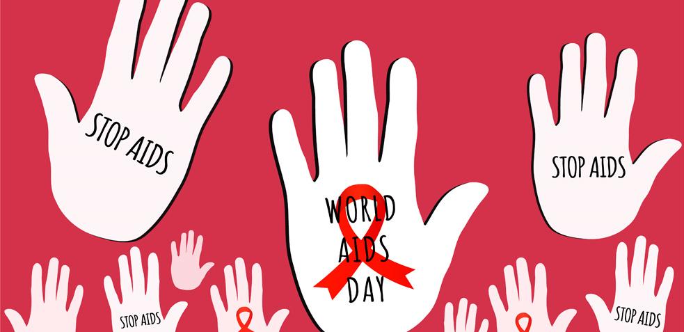 Ilustración de manos con inscripciones de stop sida sobre un fondo rojo